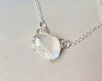 Rose Cut Rainbow Moonstone Pendant, Silver Moonstone Necklace, Custom Prong Setting, Sterling Silver, June Birthstone, Gift for her, MO2