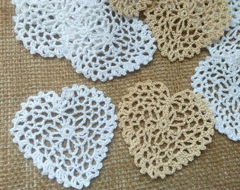 10 Crochet hearts Crochet hearts applique Mini Doily Rustic Wedding Decorations Wedding Favors  Gift Wrapping Decorations