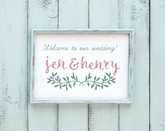 Leafy Welcome to our Wedding Printable Sign - wedding welcome card, framed print, welcome sign - printable