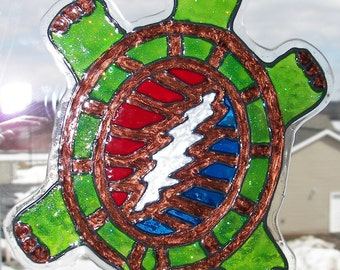 Grateful Dead, Terrapin Station, Turtle, Faux Stained Glass Window Cling