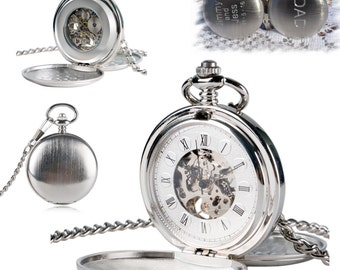 Personalized Groomsmen Pocket Watch, Gunmetal Monogrammed Pocket Watch, Gifts for Men, Groomsmen Gift, Best Man, Father of the bride