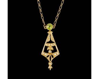 Antique peridot & Pearl Lavaliere Pendant 14k Gold, Vintage Art Deco Pendants, Seed Pearl Jewellery, Gold Lavaliere, Green Peridot Gemstone