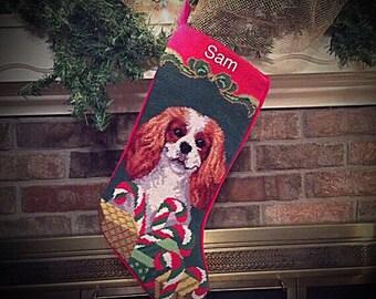 Cavalier King Charles Dog Stocking, Personalized Christmas stockings, Blenheim Cavalier King Charles Needlepoint Stocking, dog stocking,