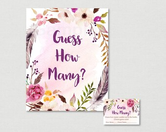 Boho Floral Guess How Many Game / Boho Baby Shower / Watercolor Floral / Watercolor Feathers / Candy Guessing Game / INSTANT DOWNLOAD A182