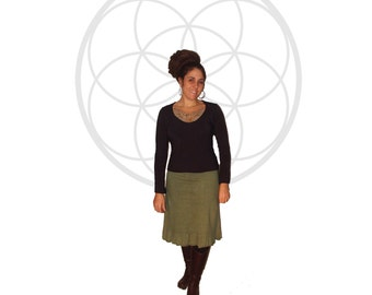 Organic Skirt - Organic cotton and hemp ruffle bottom  skirt handmade and dyed Just for you