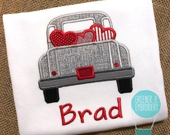 Boys Valentine Shirt / Valentine Truck Shirt / Valentine's Day Shirt / Personalized Valentine's Day Shirt / Truck with Hearts / Truck Shirt