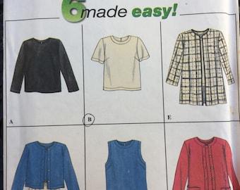Vintage Simplicity 7381 Misses' tops jacket size 6-8-10 uncut 1996