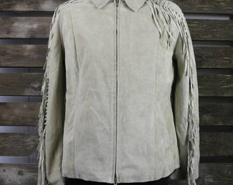 Vintage 1980's cream (Womens/Mens) Fringe suedeJacket / Motorcycle Jacket