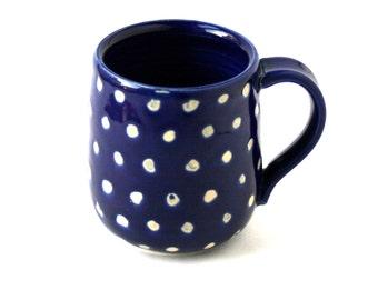 Cobalt Blue and White Polka Dots MUG