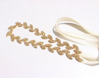 Bridesmaid dress belt Gold Leaf Bridal Belt Gold Leaf rhinestone sash belt Gold Leaf Headband Gold wedding Belt bridal sashes and belts