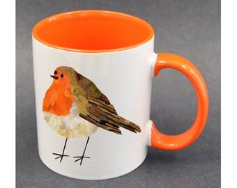 Robin mug, Bird mug, Bird lover mug, Bird lover gift ideas, Robin bird birthday gift, Bright colour mugs, New home gift, Cute coffee mug