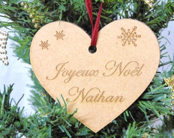 Heart made of wood - personalised Christmas heart