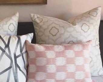 blush ikat pillow, pink Ikat cushion, blush lumbar pillow, linen pillow, pale pink cushion, ikat pillow, bedroom cushion, boho luxe