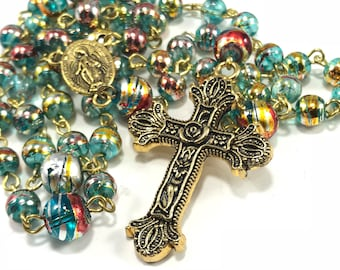 SALE Bue and Gold Rosary; Bright Blue Rosary; Beaded Traditional Catholic Rosary, Gold Traditional Rosary, Communion, Boy's Rosary for Him