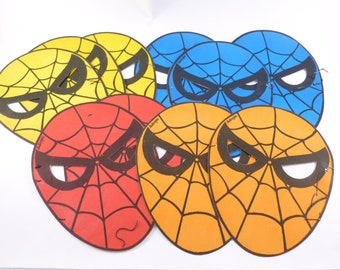 Spiderman Paper Party Face Masks Lot Red, Orange, Yellow and Blue