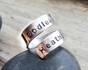 Godless Heathen Ring-Non Believer Thick Wrap Ring- Atheist Agnostic Jewelry- Adjustable Aluminum Silver Stamped