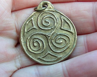 Celtic, Triple Spiral, Triskele, Triskelion, Bronze Pendant, Spiritual, Pagan, Trinity, Holy Trinity, Celtic Trinity, Amulet, Talisman