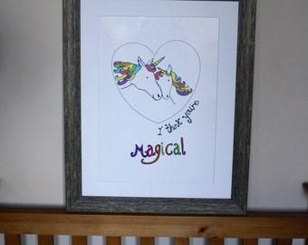 Magical Unicorns Digital Illustration Poster Print