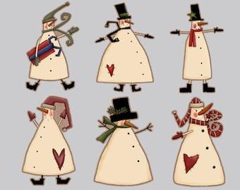 Set of 12 Christmas tags snowman tags primitive snowman tags personalized snowman tags personalized christmas tags