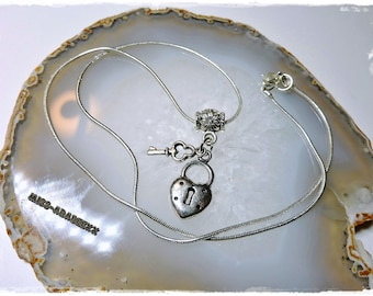 Necklace with lock & key pendant silver, Free Shipping!