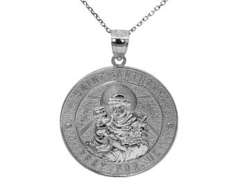 925 Sterling Silver Saint Anthony Pray For Us Medallion Necklace
