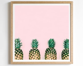 Pineapple Decor - Wall Art Pineapple - Cute Teen Girl Gift - Pineapple Print Art - Pineapple Bedroom - Fruit Print - Pink Teen Room Decor
