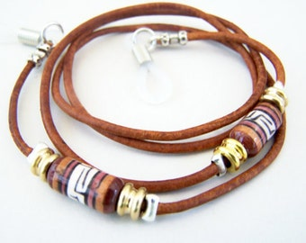 Womens 2mm, Eyeglass Chain, 26 Inch Eyeglass Cord, Antique Tan Leather, Ceramic Bead on Leather Cord,