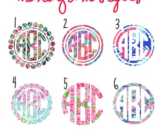 Lilly Inspired Circle Monogram Decal, Yeti Decal, Laptop Decal, Phone Decal, Macbook Decal, Monogrammed Sticker, Car Decal, iPad Decal