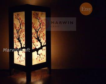 Asian Oriental Cherry Blossom Japanese Lamp Zen Bedside Lamp Floor Table  Lamp Paper Japanese Light Lamp