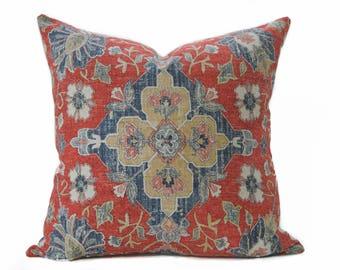 Coussin en détresse style persan lin Coussin housse - oreiller rouge brique, bleu marine - Boho oreiller - oreiller Shabby chic - Rusty ethnique rouge