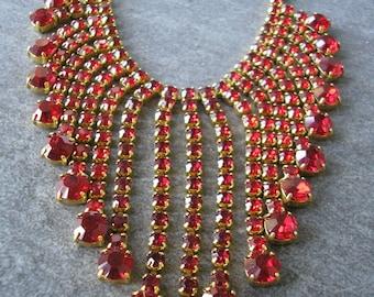 Red Rhinestone Necklace, Statement Necklace, Prom, Party, Great Gatsby, Rhinestone Bib, Waterfall, Vintage Collar, Bridal Choker, Deco