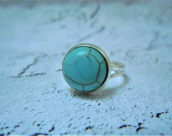 Turquoise Ring, Cabochon, Adjustable, Statement Ring, Gift For Her, December Birthday Gift, Cabochon Ring, Xmas Gifts, Stocking Stuffers