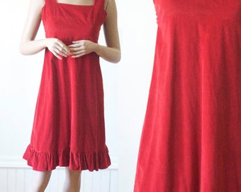 Red Dress for Spring in Corduroy / 70's Tunic / Retro Day Dress / Romper / Short Sleeve Summer