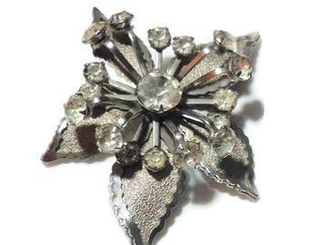 Vintage Silvertone Flower Pin with Rhinestones