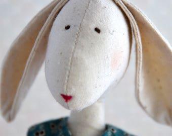 Rabbit doll Textile doll Handmade doll Fabric doll Soft doll Cloth doll Collectable doll Rag doll Hare doll Beatrix doll Love doll Art doll