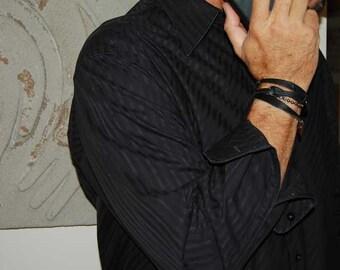 Mens Leather Bracelet, Sterling Silver |Johnny Cash|Womens Leather Bracelet, Custom mens Leather Bracelet