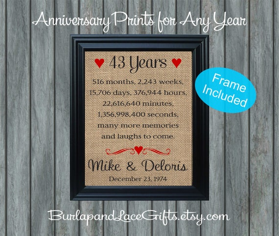 43rd Wedding Anniversary Gifts: FRAMED Personalized 43rd Anniversary Gift/43 Years Of