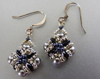 Woven Glass Bead Diamond Shaped Dangle Earrings in Silver and Dark Blue