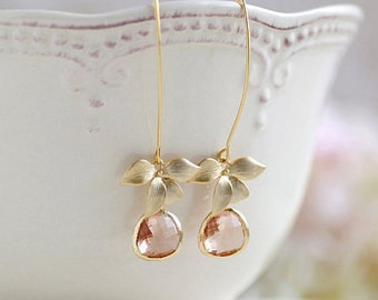 Peach Champagne Gold Orchid Flower Dangle Earrings Peach Champagne Wedding Bridal Earrings Bridesmaid Earrings Valentine's Day Gift for her