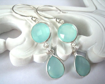 Aqua Chalcedony Earrings, Chalcedony Long Double Drop Sterling Earring, Dangle, Teardrop, Aqua Mint Chalcedony Earring,