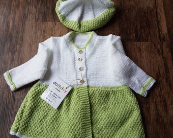 Lime and white coat with beret