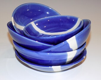 Pottery Handmade, Ceramic Bowls, Set of 6 Nesting Bowls, Ceramic and Pottery Bowls, Blue and White, Soup Bowls