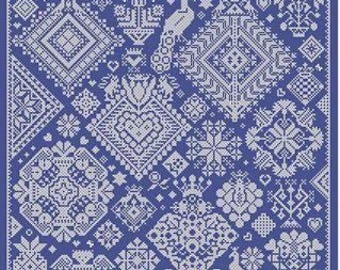 LONG DOG SAMPLERS Opus 1 counted cross stitch patterns at thecottageneedle.com monochromatic Celtic Scandinavian
