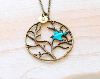 Tree Pendant Necklace, Personalized Initial Tree of Life Necklace, Blue Swallow Bird Boho Necklace, Tree Jewelry, Gift for Mom, Gift for her