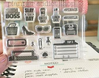 Girl Boss 3X4 Photopolymer stamp set/Planner Accessories: Erin Condren, Filofax, planners