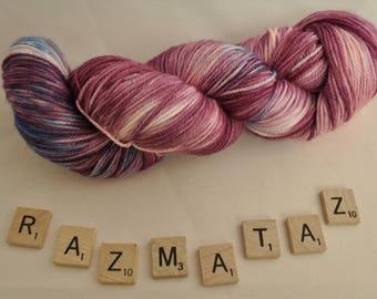 """Hand-dyed yarn, """"Razmataz"""" variegated, soft and squishy yarn. Great for socks or shawls. 80/20 Superwash wool/Nylon"""