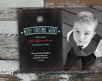 Merry Christmas Digital Holiday Card  - Customizable with scripture & photo (Luke 2:14)