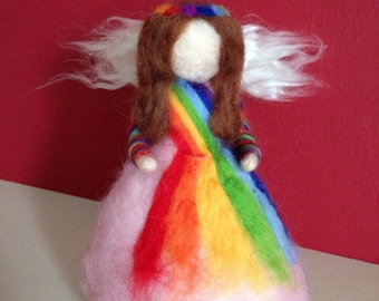 Rainbow Fairy Needle Felted Waldorf Doll Angel Tree Topper Ornament Decoration Magic Wand Handmade Gift For Her