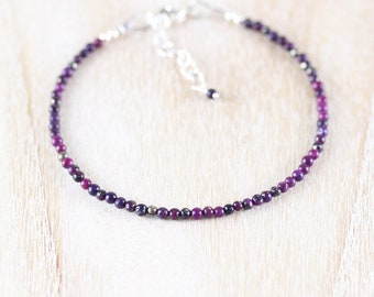 Sugilite Beaded Bracelet in Sterling Silver, Rose or Gold Filled. Dainty Purple Gemstone Stacking Bracelet. Delicate Thin Tiny Bead Jewelry