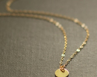 Gold Disc Necklace - Tiny Gold Disc - 14K Gold Filled Chain